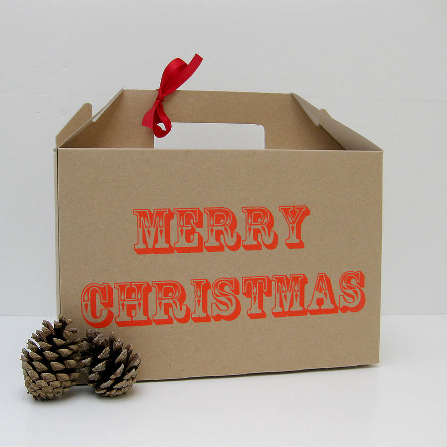 Screen Printed 'merry Christmas' Gift Box By Rolfe & Wills ...