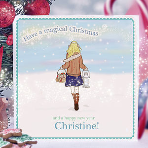 Personalised Christmas Card For Girl's - christmas cards sent direct