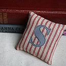 Personalised Initial Striped Lavender Pillow