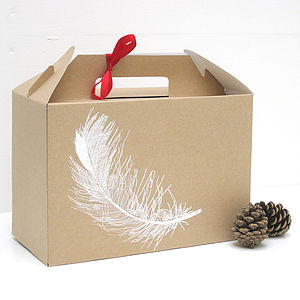 Screen Printed Feather Gift Box - gift boxes