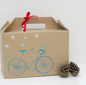 Screen Printed 'Snowy Bicycle' Gift Box - christmas