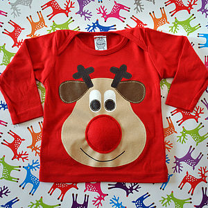 Baby Squeaky Nose Rudolph Christmas Jumper - christmas jumpers