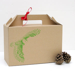 Screen Printed Owl Design Gift Box - wrapping