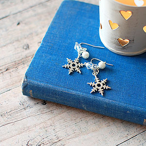 Snowflake Charm Earrings - earrings