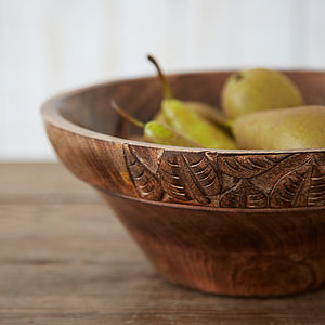 Fair Trade Carved Wooden Bowl