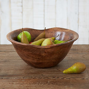 Natural Wooden Fruit Bowl - tableware