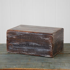 Antique Effect Mango Wood Box - cufflink boxes & coin trays