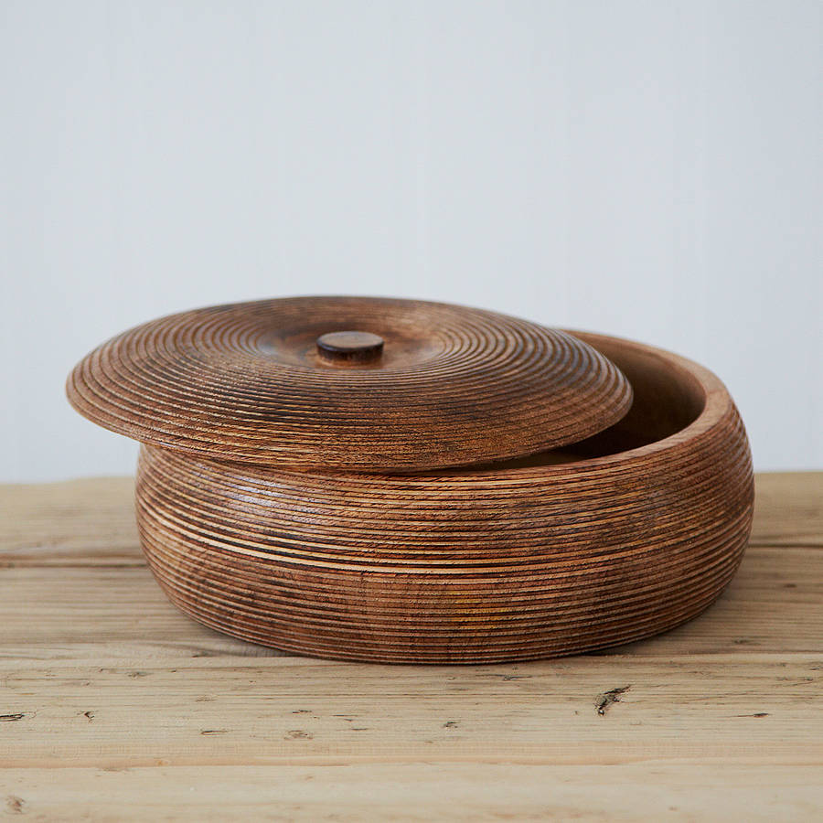 Large carved mango wood bowl by paper high