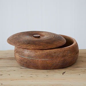 Large Carved Mango Wood Bowl - kitchen