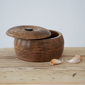 Medium Carved Mango Wood Bowl - tableware