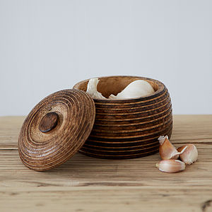 Small Carved Mango Wood Bowl - tableware