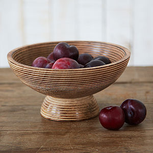 Carved Mango Wood Fruit Bowl - tableware