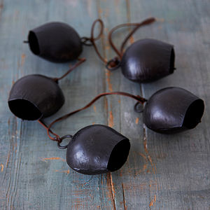 Charcoal Hanging Five Iron Bells - hanging decorations