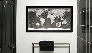 Black And White World Map - gifts for him