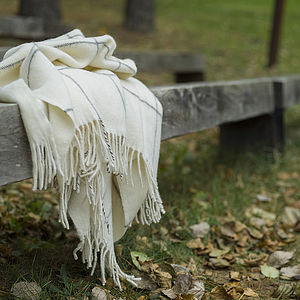 Alpaca Wool Throw Ivory Emilio - blankets & throws