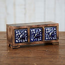 Mango Wood Daisy Blue Three Ceramic Drawers