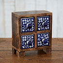 Mango Wood Daisy Blue Four Ceramic Drawers