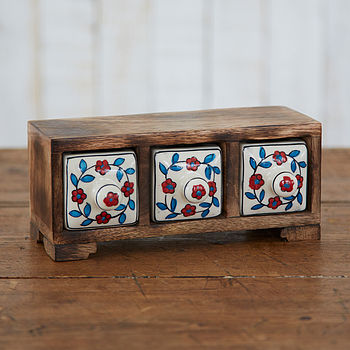 Mango Wood Three Ceramic Drawer Flower Design
