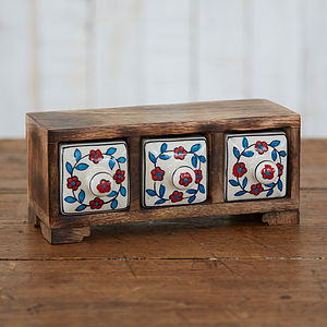 Mango Wood Three Ceramic Drawer Jewellery Box