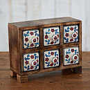 Mango Wood Six Ceramic Drawers Flower Design