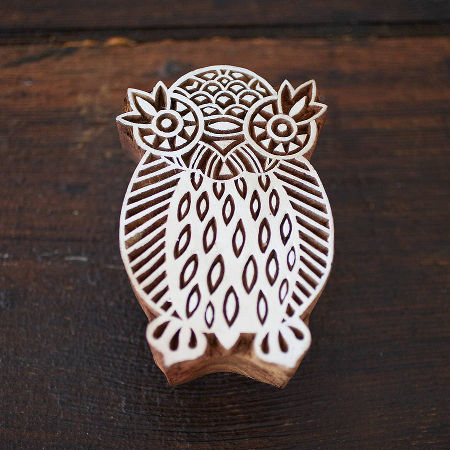 Owl Design Wooden Block By Paper High