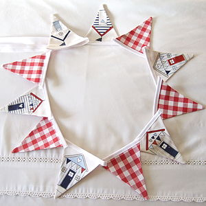 Beach Huts And Gingham Mini Bunting