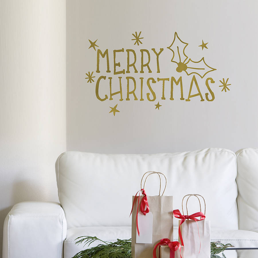 Merry Christmas Wall Sticker By Oakdene Designs