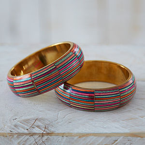 Dhari Fair Trade Handmade Stripy Bangle - bracelets & bangles