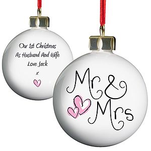 Personalised Mr & Mrs Christmas Bauble - tree decorations