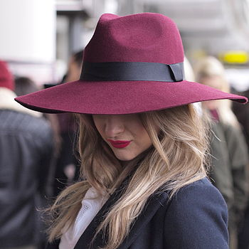 657dece6ab4a80 burgundy grande fedora with large brim by mu du london ...