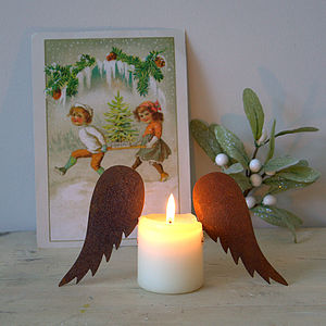 Pair Of Rust Candle Wings - candles & candlesticks