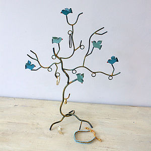 Teal Bird Jewellery Stand - women's jewellery
