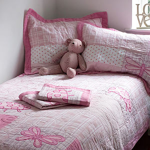 Pink Patchwork Quilted Cotton Single Bedspread - view all sale items