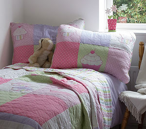 Girl's Patchwork Quilted Cotton Single Bedspread