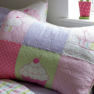 Girl's Patchwork Quilted Cotton Single Bedspread - soft furnishings & accessories
