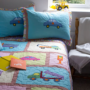 Trucks And Cars Cotton Patchwork Quilted Bedspread