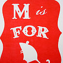 M Is For Mouse Alphabet Risograph Print