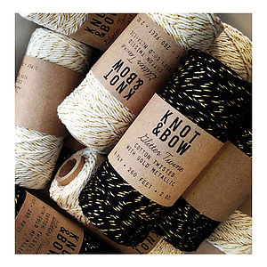 Metallic Cotton Twine 80 Meter Roll - cards & wrap