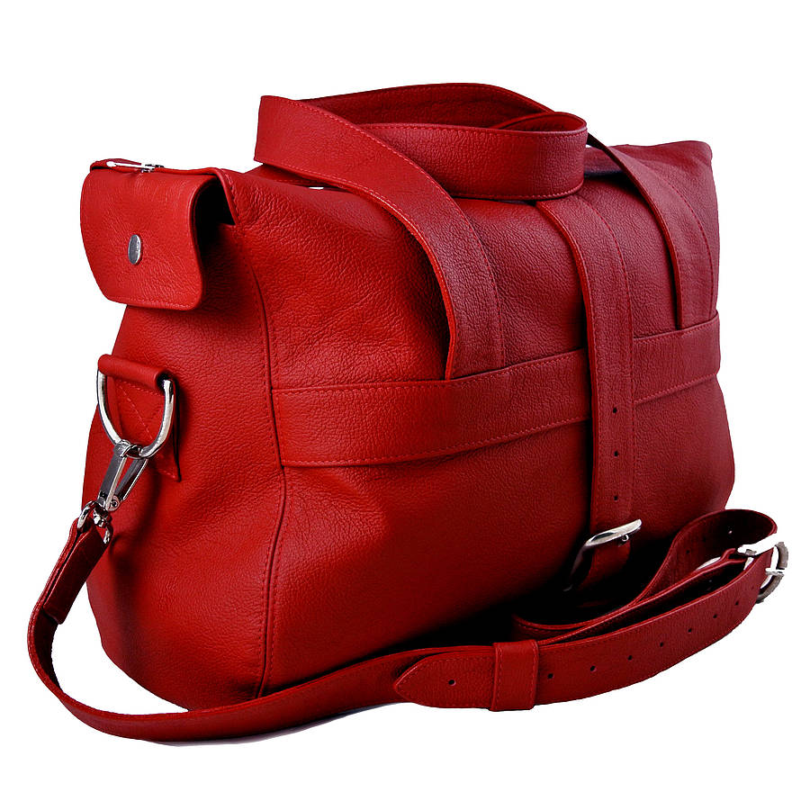 personalised handcrafted red leather overnight bag by freeload ...