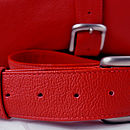 Handcrafted Red Leather Overnight Bag