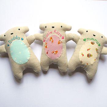 Personalised Linen Handmade Baby Bear
