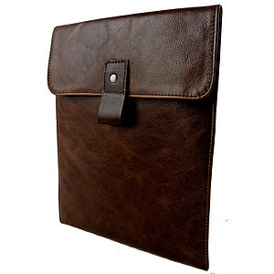 Brown Leather Case For iPad - technology accessories