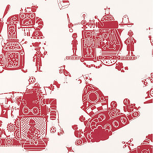 'When I Grow Up' Boy Making Machine Wallpaper - baby's room