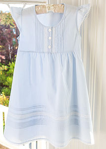Blue Lace And Pintuck Dress