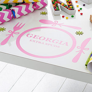 Four Personalised Christmas Placemat Vinyl Stickers - christmas parties & entertaining