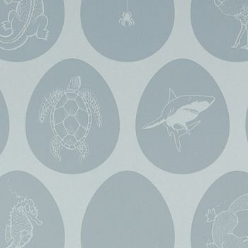 Sample 'Which Came First' Pale blue egg wallpaper