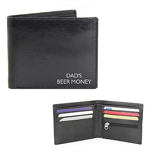 Personalised Black Leather Wallet - men's accessories