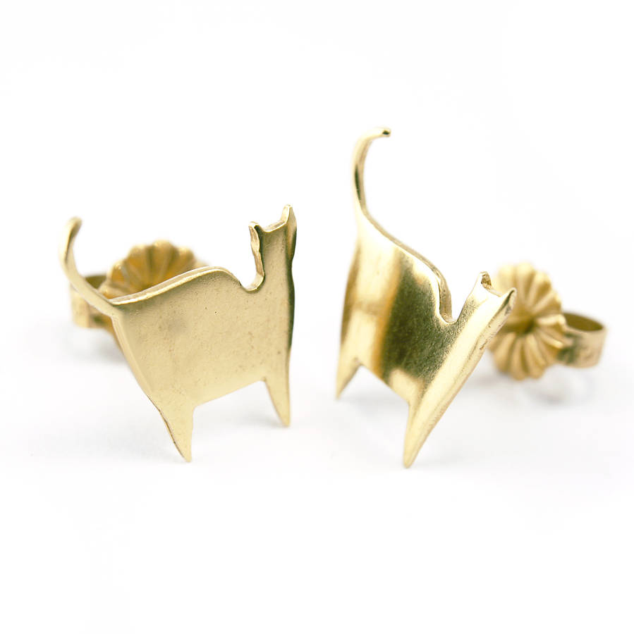 gold cat earrings by frillybylily notonthehighstreet
