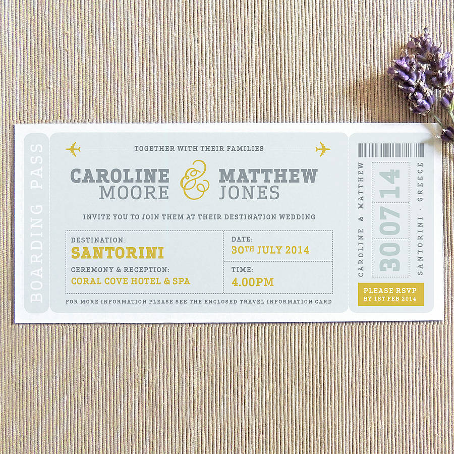 boarding pass wedding invitation in mustard