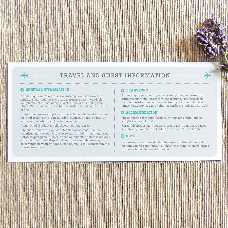 Boarding P Wedding Information Card